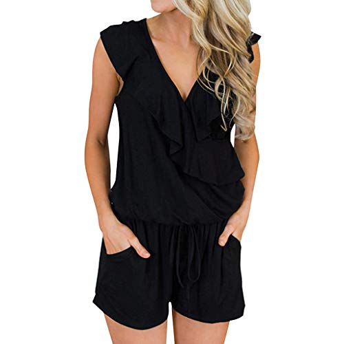 Benficial Women Casual Sleeveless V Neck High Waisted Wide Playsuits Beach Playsuits Black