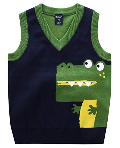 Baby Boys Waistcoat Thermal Warm Cartoon Crocodile Animal Smooth V Neck Sweater Vest 2-3T Green