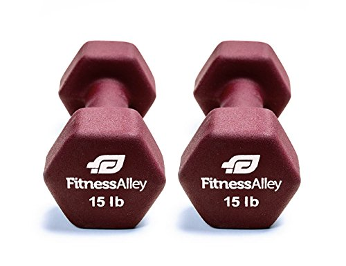 Fitness Alley 15lb Neoprene Dumbbell Set Coated for Non Slip Grip – Hex Dumbbells Weight Set – Hand weights set – Neoprene weight pairs – Hex Hand Weights – Set of two Neoprene Dumbbells, Maroon Review