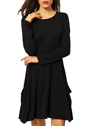 (Zero City Womens Casual Pockets Plain Flowy Simple Swing T-Shirt Loose Dress, 01black, Small )