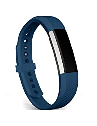 Fitbit Alta/ Alta HR Bands, FanTEK Classic Soft Silicone Adjustable Replacement Sport Strap Band Bracelet Wristband with Metal Clasp Accessory For Fitbit Alta/ Alta HR Smart Fitness Tracker, Small, Midnight Blue