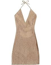 MakeMeChic Women's Sleeveless Halter Tie Back Knitted Swim Beach Cover Up Dress