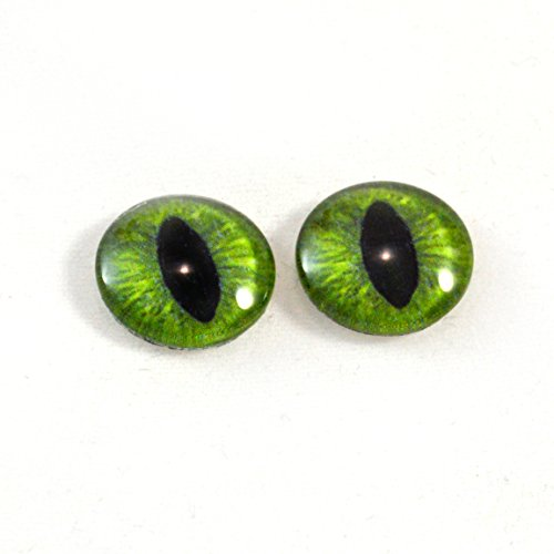 16mm Glass Green Cat Eyes Or Dragon Eyes Cabochons for Fantasy Art Doll Taxidermy Sculptures or Jewelry Making Crafts Set of 2 ()