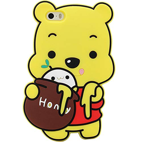 Honey Yellow Case - DiDicose 3D Cute Cartoon Honey Bear Yellow Silicone Rubber Phone Case Cover for iPhone 5 / 5S / SE / 5C, Kawaii Shockproof Drop Protection Skin Durable Bumper Case for Girls Kids Teens Women Ladies