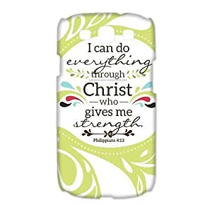 Samsung Galaxy S3 I9300/I9308/I939 Case - Christian Theme - Bible Verse Philippians 4:13 - Durable and lightweight Cover Case