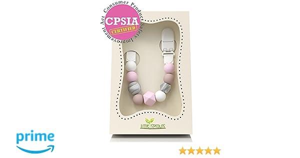 Little Sprouts - Cadena de chupete 2 en 1 - Moderna y Moda cuentas de silicona para dentición con formas únicas - Ideal para juguete mordedores, ...