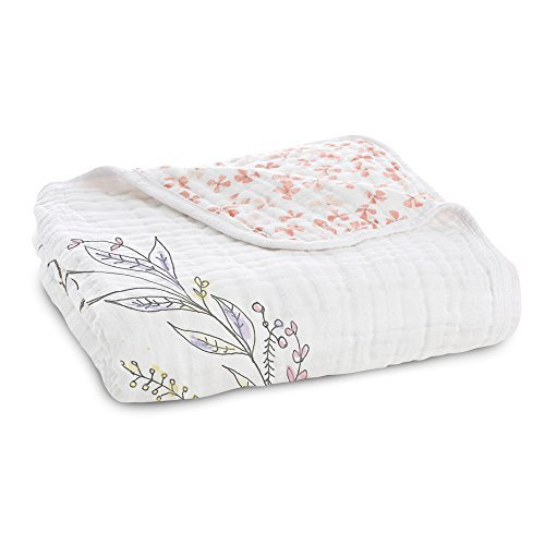 aden + anais Dream Blanket; 100% Cotton Muslin; 4 Layer lightweight and breathable; Large 47 X 47 inch; birdsong - noble nest