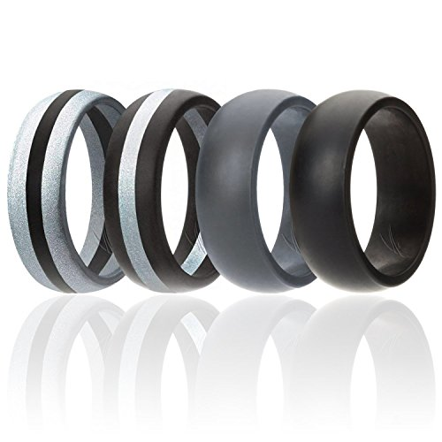 ROQ Silicone Wedding Ring for Men, 4 Pack Silicone Rubber Band - Black, Grey, Silver - Size 11 ()