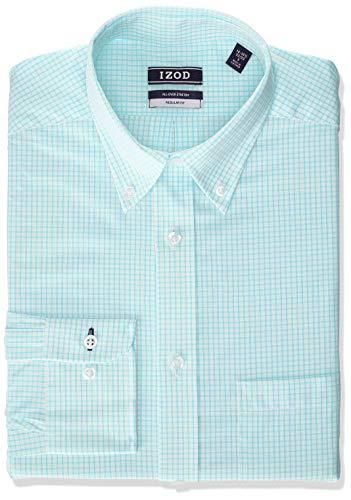 IZOD Men's Dress Shirts Regular Fit Stretch Check, Aqua, 18