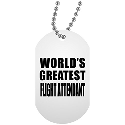 Flight Dog Tag Necklace (World's Greatest Flight Attendant - Military Dog Tag, Aluminum ID Tag Necklace, Best Gift for Birthday, Wedding Anniversary, New Year, Valentine's Day, Easter, Mother's / Father's Day)