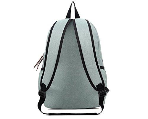 xibeitrade Leinwand Reise Rucksack Rucksack Schultasche Laptop Daypack schwarz lichtgrün A8zSi