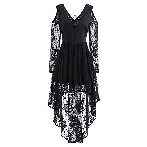 Women Halloween Lace Dress,Connia Fall Winter Gown Bat Vintage Printed Cocktail Costume (XXL= US Size XL, Black)