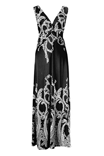 G2 Chic Women's Paradise Printed Patterned Holiday Casual Floral Maxi Dress(DRS-MAX,BLKA15-S) (G2 Chic Maxi Dress)