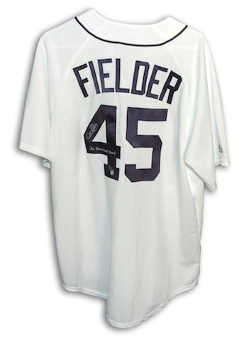 Autographed Cecil Fielder Detroit Tigers White Majestic Jersey Inscribed