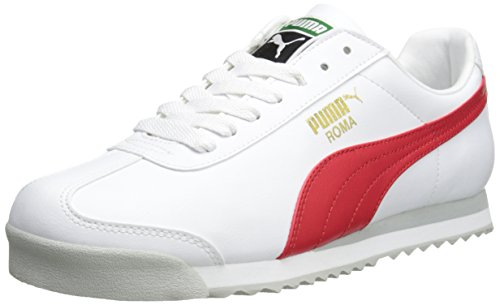 PUMA Men's Roma Basic Fashion Sneaker, White/High Risk Red/White – 9.5 D(M) US