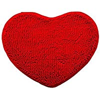 Area Rug Non-Slip Heart Shaped Decoration Red Kitchen Rugs Pet Rug Microfiber Rug Door Mats Fluffy Bath Shower Mat Toilet Floor Rug Living Room Rug Set Hatsukoi,20 x 24