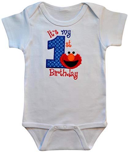 Embroidered ELMO My First Birthday Year 1 Onesie Bodysuit Creeper Handmade Keepsake (24 Months Short Sleeve)