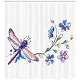 Ambesonne Dragonfly Shower Curtain, Watercolor Bug Butterfly Like Moth with Branch Ivy Flowers Lilies Art, Fabric Bathroom Decor Set with Hooks, 70 inches, Green Purple and Blue
