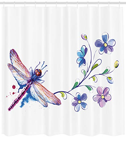 Ambesonne Dragonfly Shower Curtain, Watercolor Bug Butterfly Like Moth with Branch Ivy Flowers Lilies Art, Fabric Bathroom Decor Set with Hooks, 70 inches, Green Purple and Blue ()