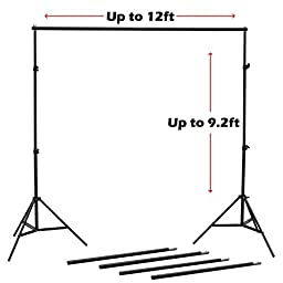 NulinkTM 9FT x 12FT Professional Photography Video Photo Adjustable Muslin Backdrop Support Stand Kit with Crossbar & Carry Bag