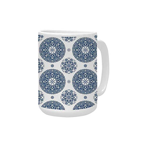 Vintage Ceramic Mug,French Country Style Floral Circular Pattern Lace Ornamental Snowflake Design Print for Home,15OZ