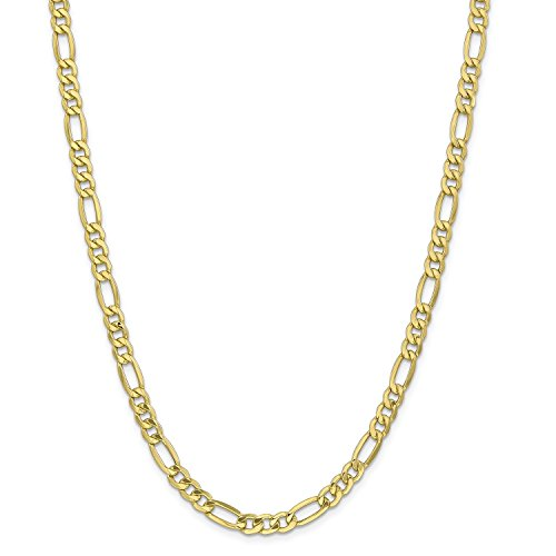 Roy Rose Jewelry 10K Yellow Gold 6mm Semi-Solid Figaro Link Chain Bracelet ~ Length 7'' (7' Figaro Chain Bracelet)