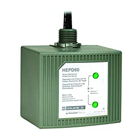 Square D by Schneider Electric HEPD80 Home Electronics Protective Device 5 <p>Home Electronic Protective Device, Works With Surge Protection In The Load Center To Provide Surge Suppression, 120/240V, 80Ka Surge Current Per Phase, 25Ka Short Current Rating, 6 Modes Of Protection, UL Listed, NEMA Type 4X Rating, Non-Metallic Enclosure, Limited Warranty Of 5 Years & $50,000 Connected Equipment Warranty For Residential Applications. Equal protection to circuits and receptacles throughout home. Protects appliances/equipment that are not plugged into a surge strip Includes an LED indicator NEMA 4X rated for outdoor/indoor use, 80,000 amp Surge Current Rating, 25,000 amp SCCR. CSA and UL 1449 3rd Edition Type 1 SPD The HEPD80 is easily connected to any brand of residential load center and provides the customer a green status LED to ensure proper protection Product warranty of 5 years and 50,000 residential downline warranty</p>
