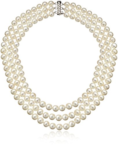 3 Row Cultured Pearl Freshwater (Sterling Silver 3-Row Freshwater Cultured Pearl Strand (7-7.5mm))