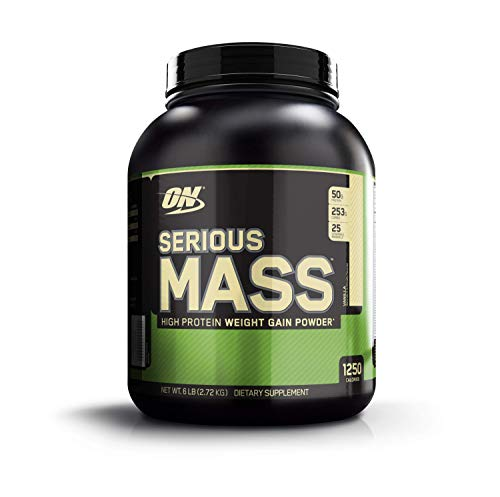 OPTIMUM NUTRITION Serious Mass High Calorie Weight Gain/Muscle Gain Protein Powder, Vanilla - 6 Pound (Best Protein To Add Muscle Mass)