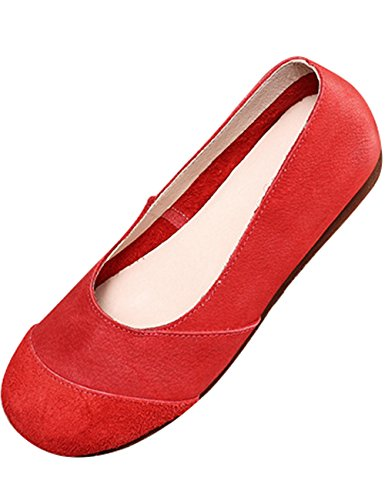 Shoes Women's Leather Zoulee Shoes Flats Toe Flats Oxford Round Red 67Zw8q1
