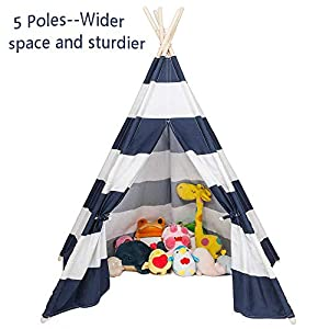 JOYMOR Foldable 100% Cotton Canvas Indoor Teepee Tent Indian Playhouse for Kids Play with Banner,Carry Bag,Window,Pocket