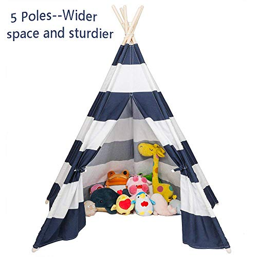 JOYMOR Foldable 100% Cotton Canvas Indoor Teepee Tent Indian Playhouse for Kids Play with Banner,Carry Bag,Window,Pocket - Pine Kids Sleeping Bag