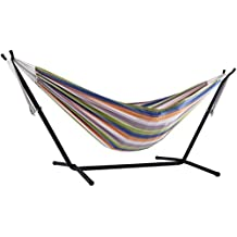 Vivere Double Hammock with Space Saving Steel Stand, Retro