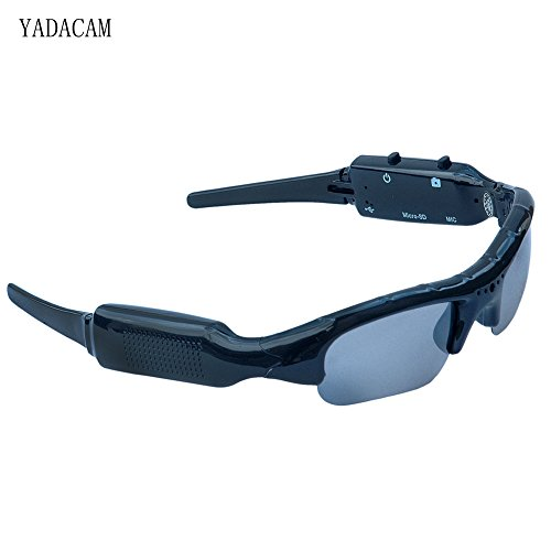 1080P HD Sunglasses spy Hidden Camera,YADACAM Black Mini Eye Wearable Hidden Spy Nanny Camera Glasses[SD Card not Included]