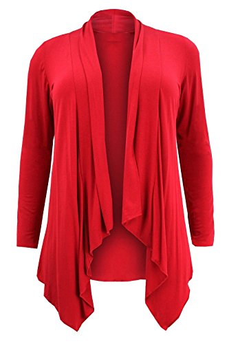 Jumbo Chocolate 54 Grande Taille de Pickle Femmes 44 Hanky Cascade Cardigans red Hem Nouveaux nYqw7HrxBY