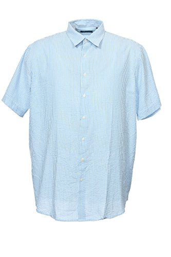 Blue Striped Camp Shirt (John Ashford Ja Light Blue Horizontal Striped Camp Shirt, Size 3XLarge Tall)