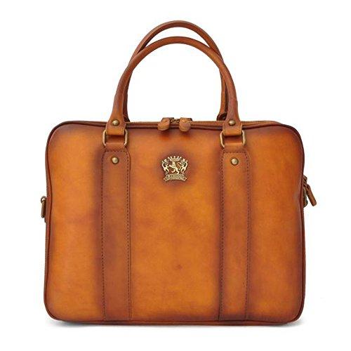 Pratesi Milo Italian Aged Leather Zip Top Briefcase. Laptop Bag. (tan)