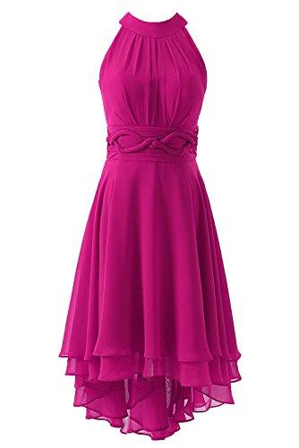 Fuchsia Chiffon Zipper (DYS Women's Short Bridesmaid Dresses Hi Lo Prom Homecoming Dress Chiffon Fuchsia US 12)