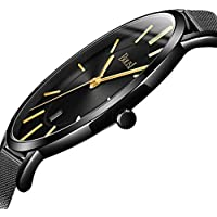 BOLISI Mens Womens Watches Ultra-Thin Classic Analog Quartz Fashion DressWrist Watch with Date and Milanese Mesh Band or Leather Strap for Gift (Gold Black Band)