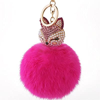 Kissweet Cute Fox Pom Pom Fur Ball Rhinestone Keychain Bag Car Ring Keyring