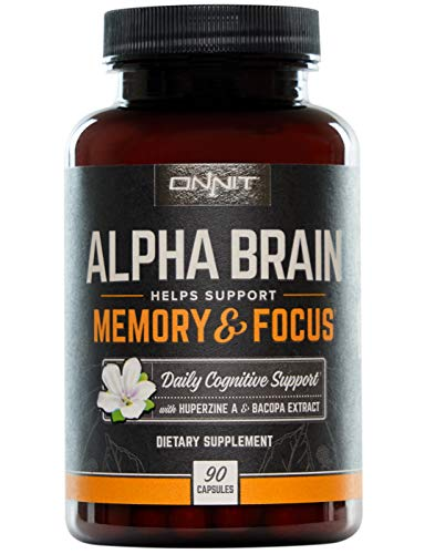 ONNIT Alpha Brain (90ct) - Over 1 Million Bottles Sold - Premium Nootropic Brain Booster Supplement - Boost Focus, Concentration & Memory - Alpha GPC, L Theanine & Bacopa Monnieri