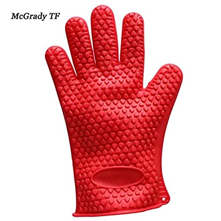 Generic Red: Cooking Baking BBQ Glove Environmental Protection, Easy to Clean, Heat Resistant Silicone BBQ Grill Glove Barbecue G