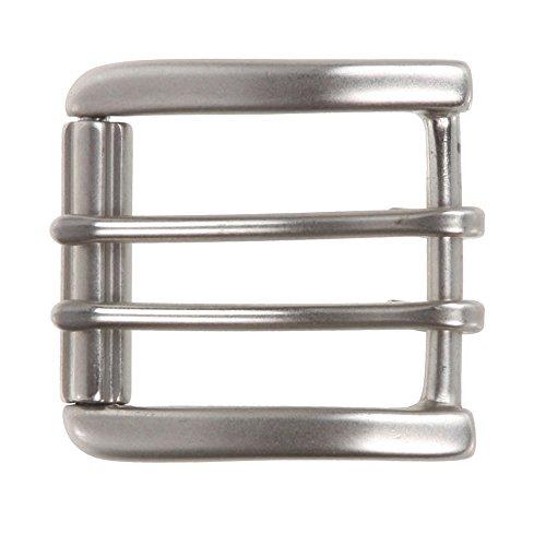 MONIQUE Men Nickel Free Center Bar Double Prong Square 1.5'' Belt Roller Buckle,Antique Silver One ()