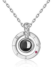 Silver S925 sterling silver projection love memory 100 languages I love you Charm pendant necklace for women choker