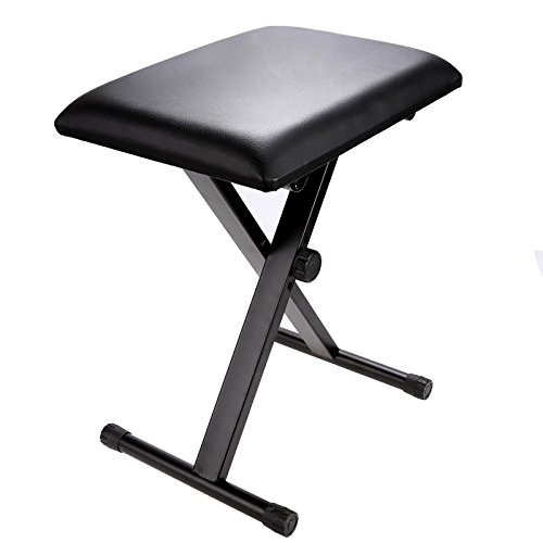Miuniu Adjustable Piano Keyboard Bench Leather Padded Seat Folding Stool Chair (Black) by Miuniu