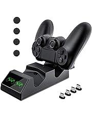Controller PS4 per caricabatterie stazione di ricarica per stazione ricarica USB KNONEW PS4 per Sony PlayStation 4 / PS4 / PS4 Pro / PS4 Slim 4 dongle di ricarica micro USB e 4 manopole per il pollice