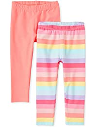 BABY TOWN Baby Girls Leggings With Lace Trim Available In Four Bright Colours Twin Pack