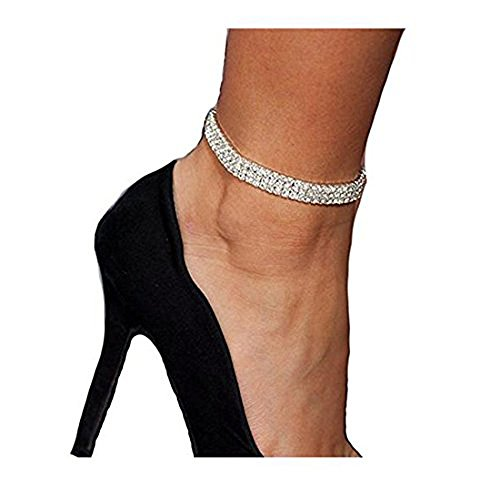 U-House Women Ankle Stretch Bracelet 3 Row Crystal Rhinestone Charms Foot Jewelry Anklet Chain Barefoot Sandal for Beach, Wedding, dancing party, Casual -1 Pack ()