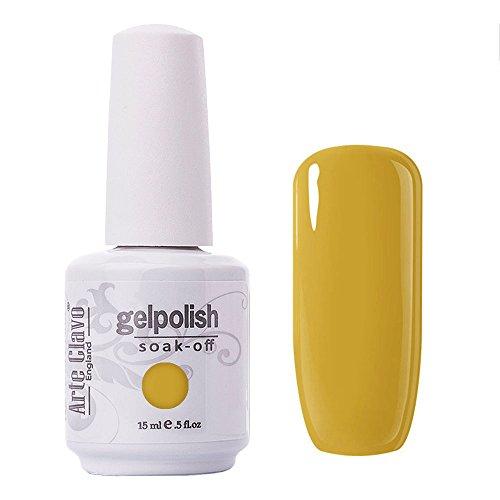 Arte Clavo Goldenrod Yellow Nail Gel Polish Harmless Resin Professional Lacquer Soak Off Nail Art UV Lamp & LED 15ml