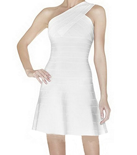 Celebritystyle off white one shoulder A-line bandage dress Petite 30